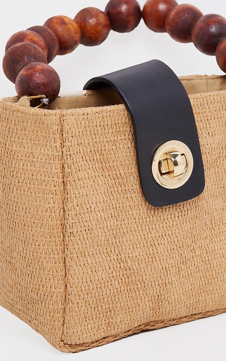 Natural Straw And Wooded Beaded Grab Bag 2
