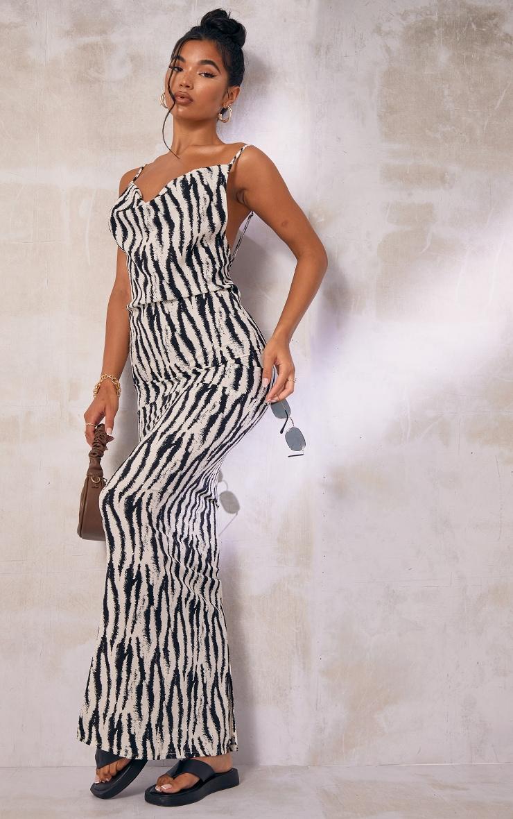 White Zebra Print Satin Cowl Neck Maxi Dress 4
