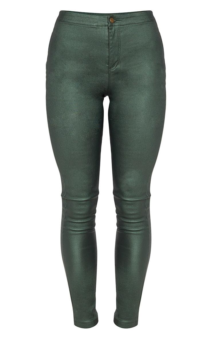 Khaki Coated Denim Skinny Jeans  3
