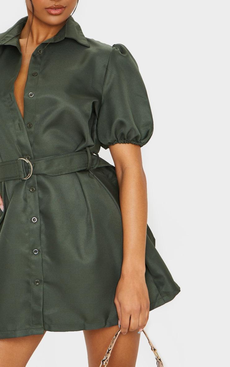 Khaki Puff Sleeve Belted Shirt Dress 4
