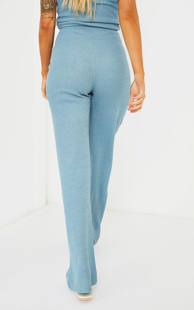 Maternity Blue Waffle Wide Leg Trousers 3