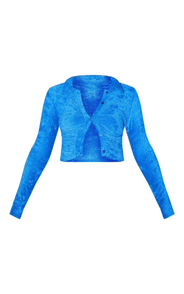 Bright Blue Recycled Ruched Front Towelling Shirt 5