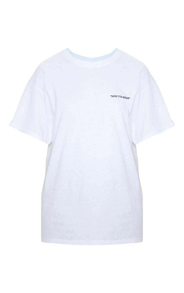 White Be Yourself Embroidered Oversized T Shirt 3