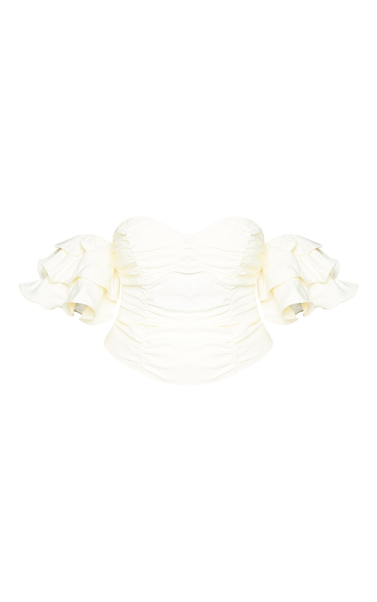 Plus Cream Ruffle Puff Sleeve Bardot Crop Top 5