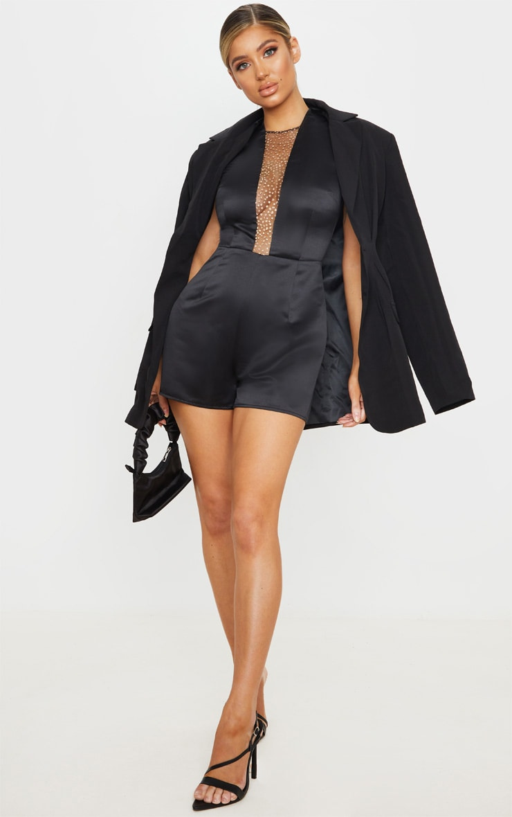 Black Satin Glitter Mesh Plunge Playsuit 1