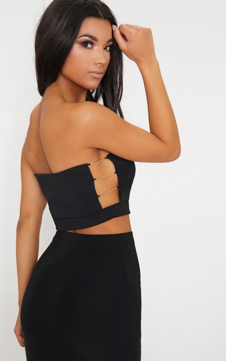 Black Chain Detail Bandeau Crop Top  2