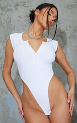 White Rib Cap Sleeve Button Up High Leg Bodysuit 2