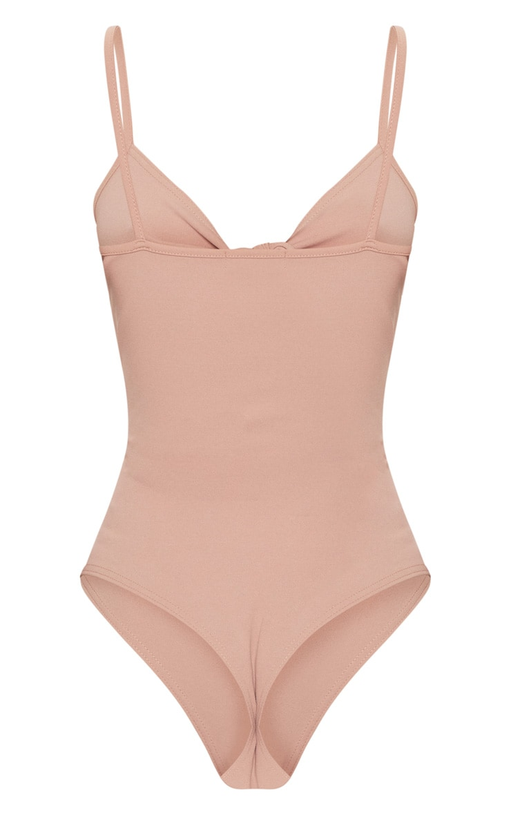 Dusty Pink Tie Detail Cut Out Bodysuit 4