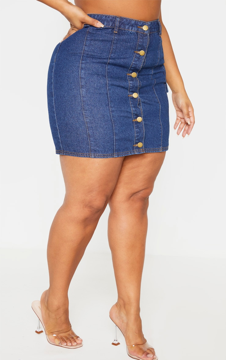 Plus Mid Wash Denim Mini Skirt 2
