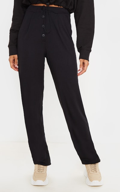 Black Jersey Button Front Skinny Trouser