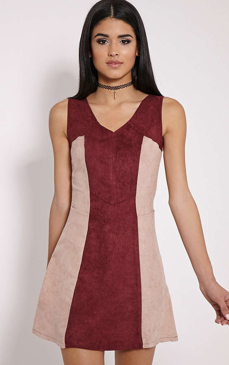 Austen Wine Colour Block Faux Suede Zip Back Dress 1