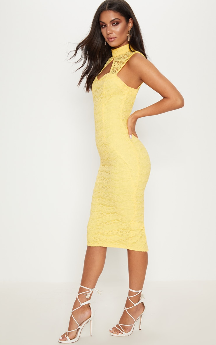 Yellow Lace High Neck Cut Out Detail Midi Dress  4