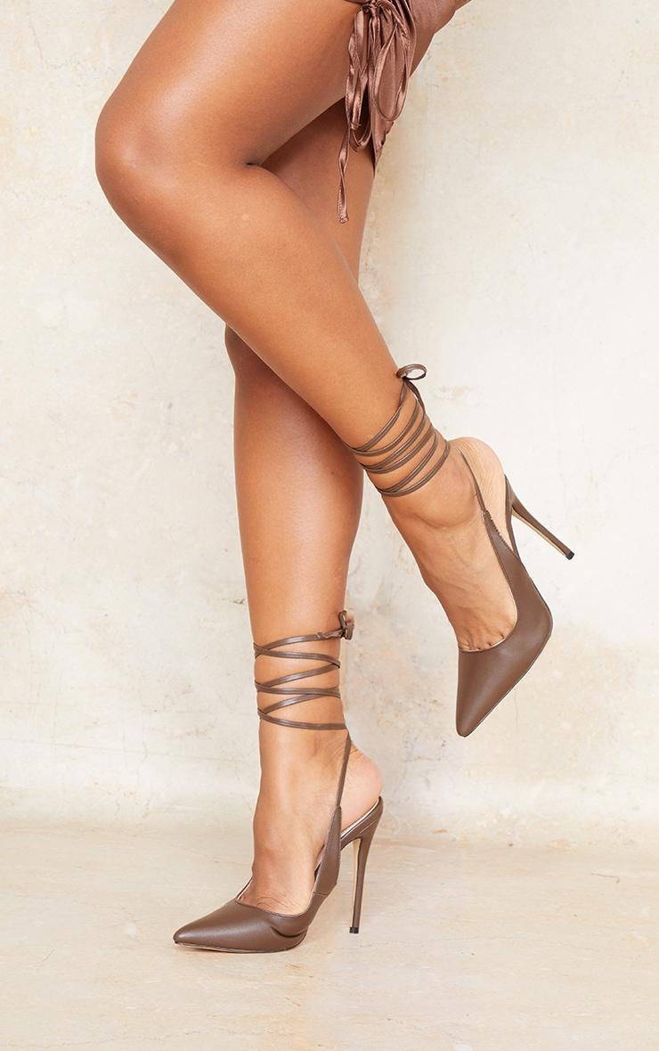 Chocolate PU Ankle Tie Court Shoe 2