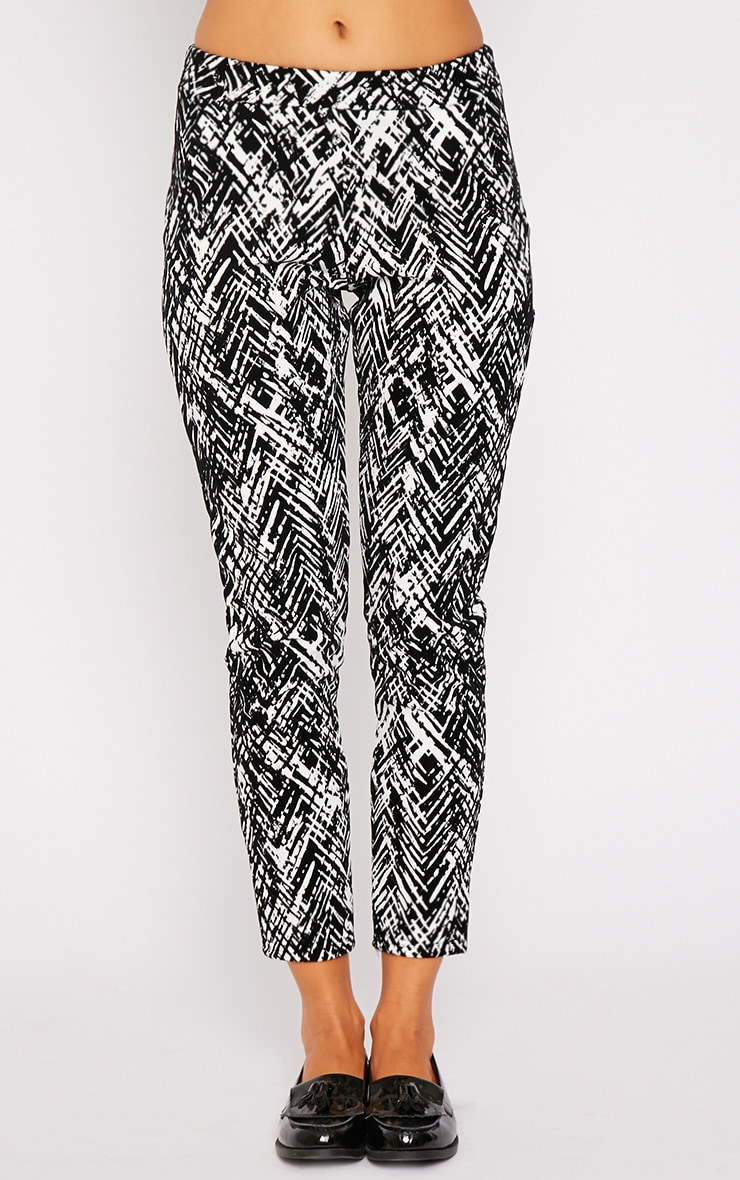 Ally Monochrome Abstract Print Flocked Cigarette Trouser 4