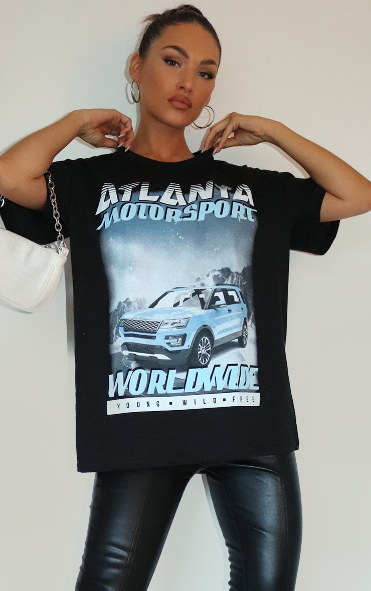 Black Atlanta Motorsport Worldwide Printed T Shirt 1
