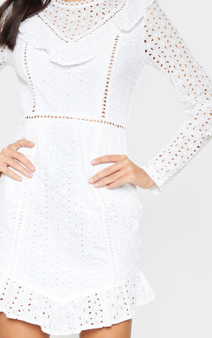 White Broderie Anglaise Frill Collar Shift Dress 5