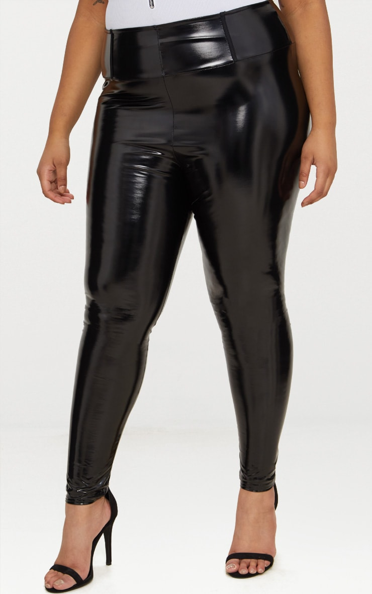Plus Black High Waist Vinyl Leggings 2