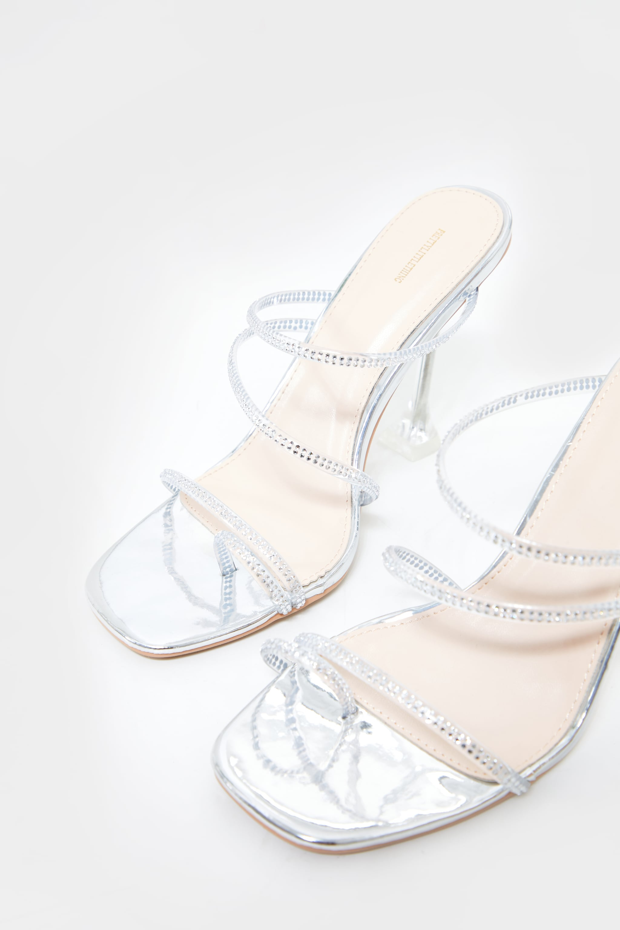 Silver Wide Fit Clear Cake Stand Heel Diamante Hot Fix Strappy Mules 4