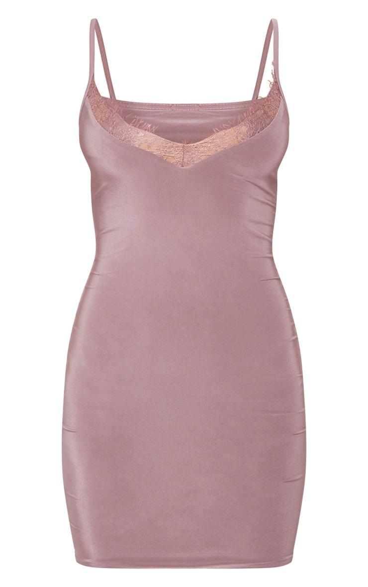 Mauve Strappy Lace Insert Bodycon Dress 3