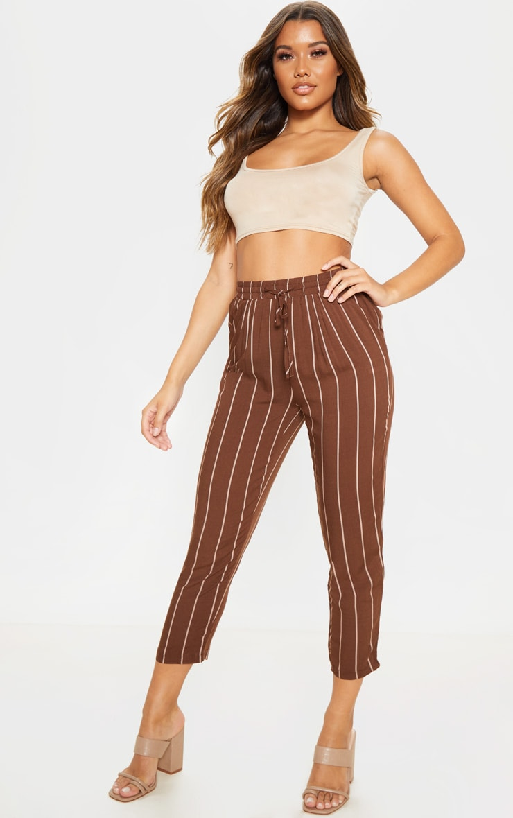 Chocolate Pinstripe Casual Pants 1