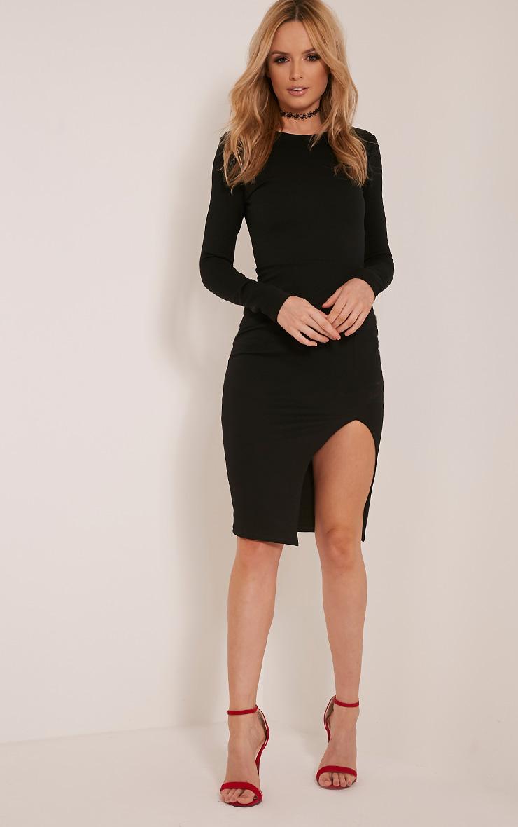 Aneelia Black Cross Back Long Sleeve Midi Dress 10