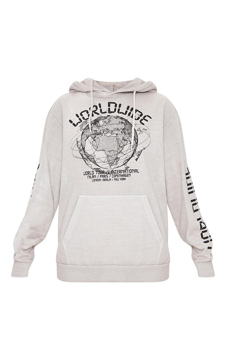 Petite - Hoodie gris pierre à slogan Worldwide 5