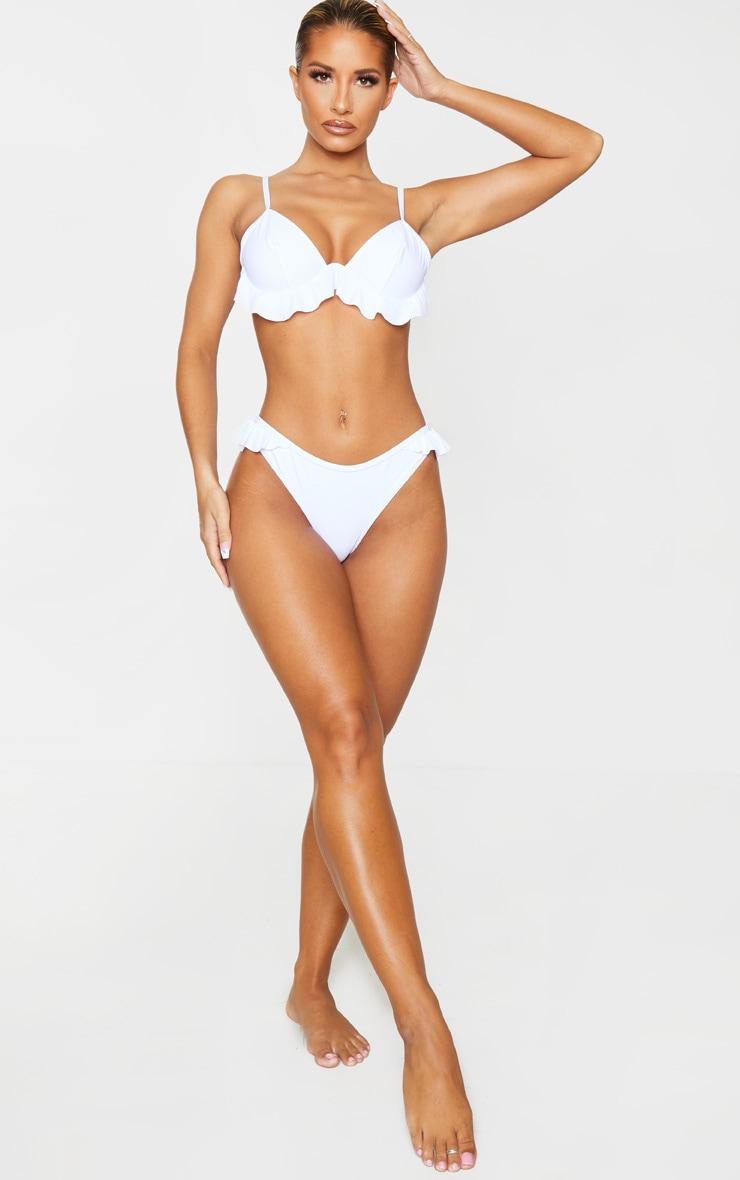 White Frill Edge Underwired Bikini Top 3