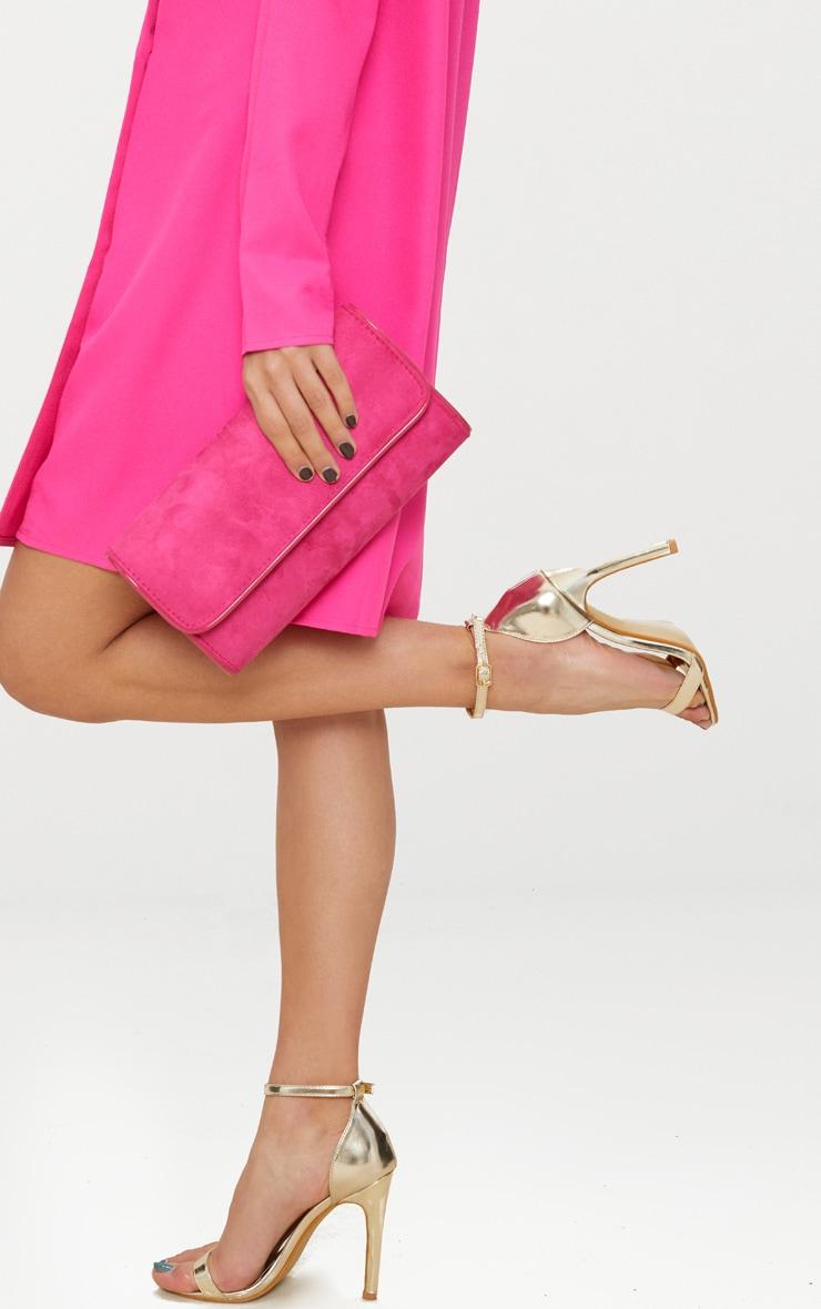 Pink Fold Over Cross Body Bag 2