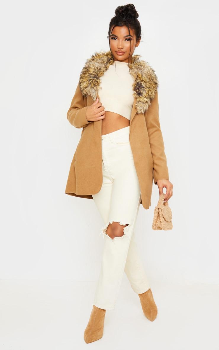 Lydia Camel Faux Fur Trimmed Belted Coat 4