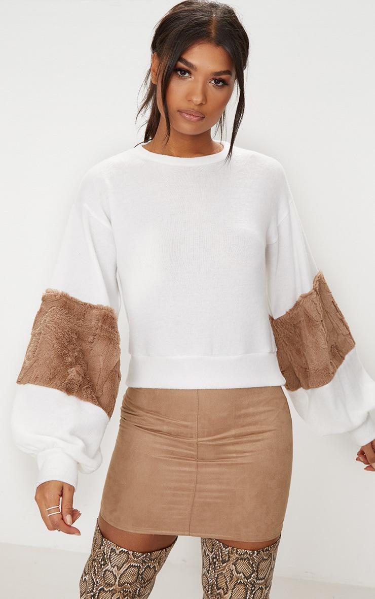 Mocha Faux Fur Sleeve Sweater  1