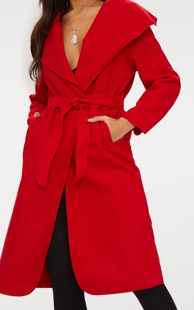 Veronica Red Oversized Waterfall Belted Coat 5