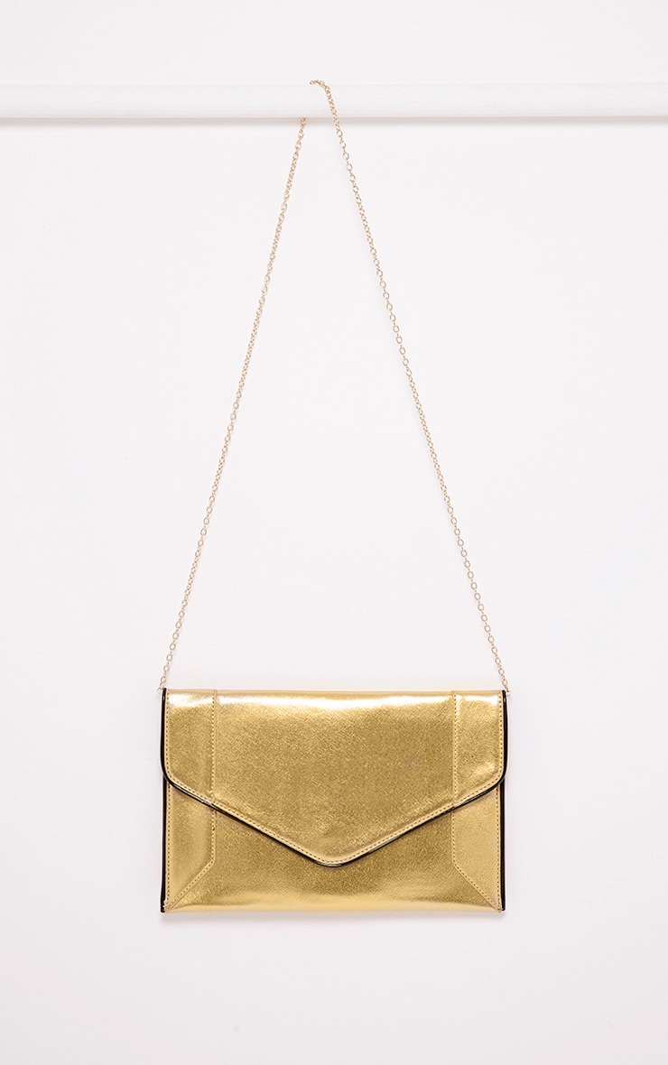 Wilona Gold Metallic Envelope Clutch 2