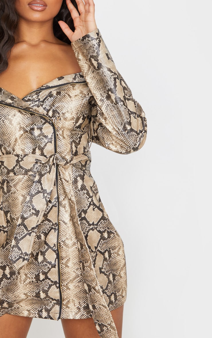 Taupe PU Snake Bardot Blazer Dress 5