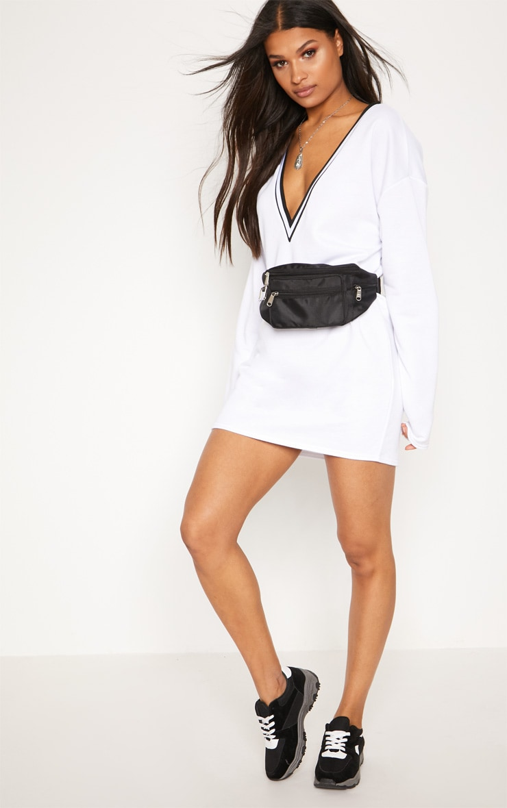 White Stripe Trim Long Sleeve Plunge Jumper Dress 4