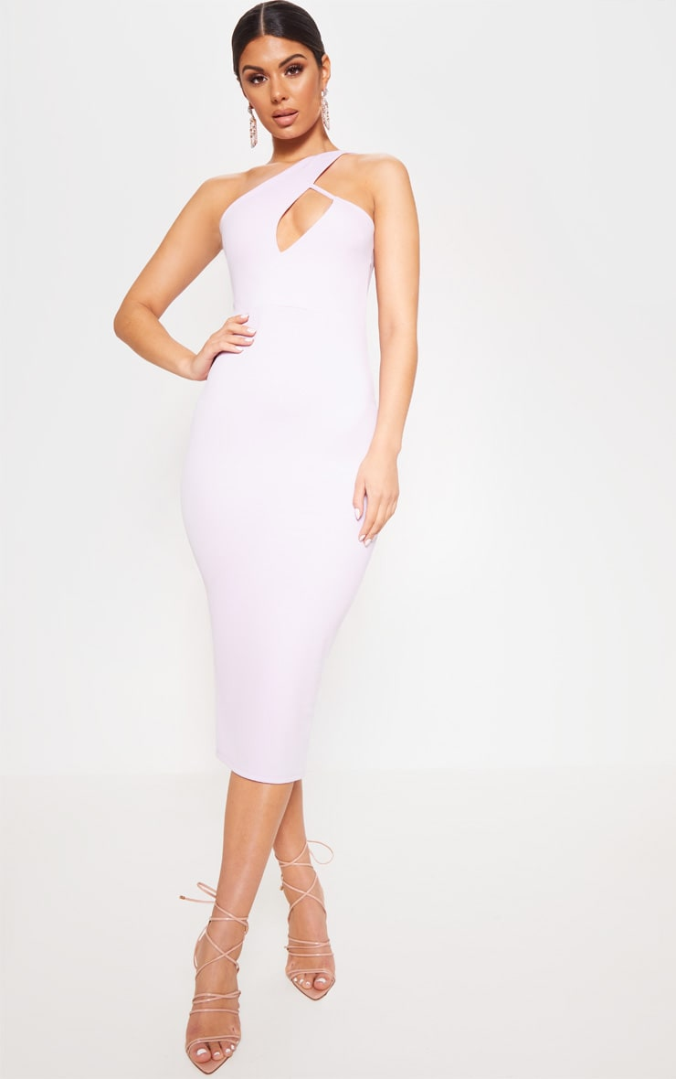 Lilac One Shoulder Asymmetric Neck Midi Dress 1