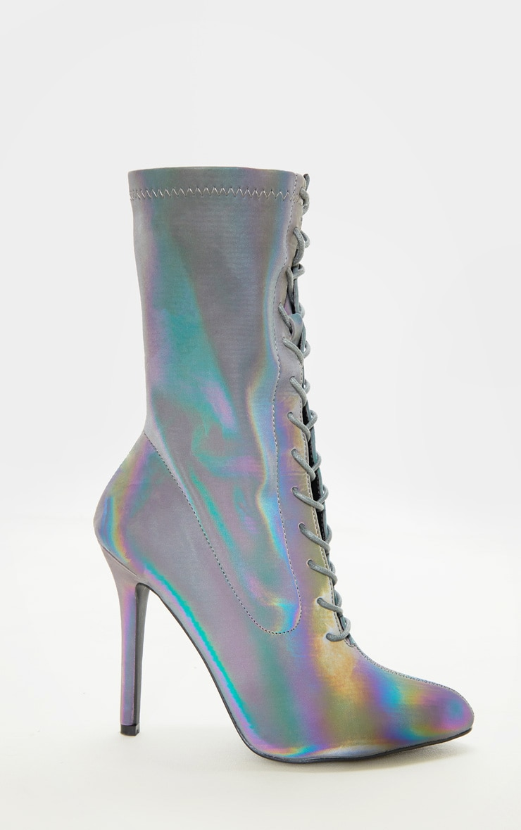 Reflective Rainbow Lace Up Sock Boot 4