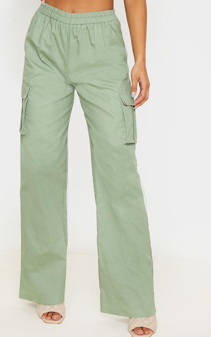 Sage Green Wide Leg Cargo Pants 2