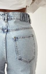 PRETTYLITTLETHING Shape Vintage Ripped Hem Straight Leg Jeans 4