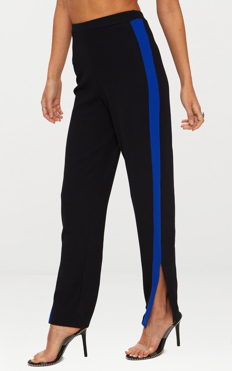 Black Contrast Side Tape Straight Leg Trouser 2