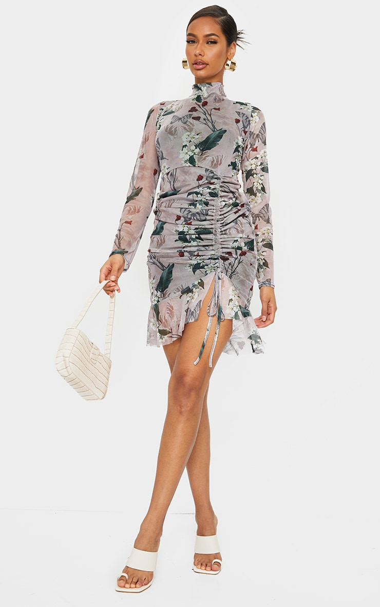 Nude Floral Print High Neck Long Sleeve Mesh Ruched Midi Dress 3