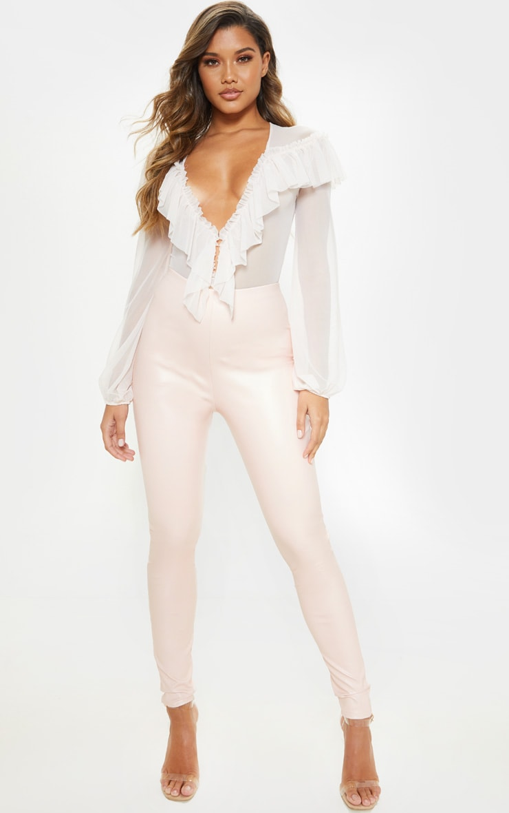 Baby Pink Faux Leather High Waisted Leggings  1