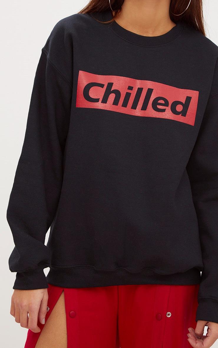 Black Chilled Slogan Sweater 5