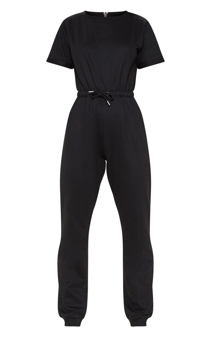 Black Short Sleeve Sweat Jumpsuit 3