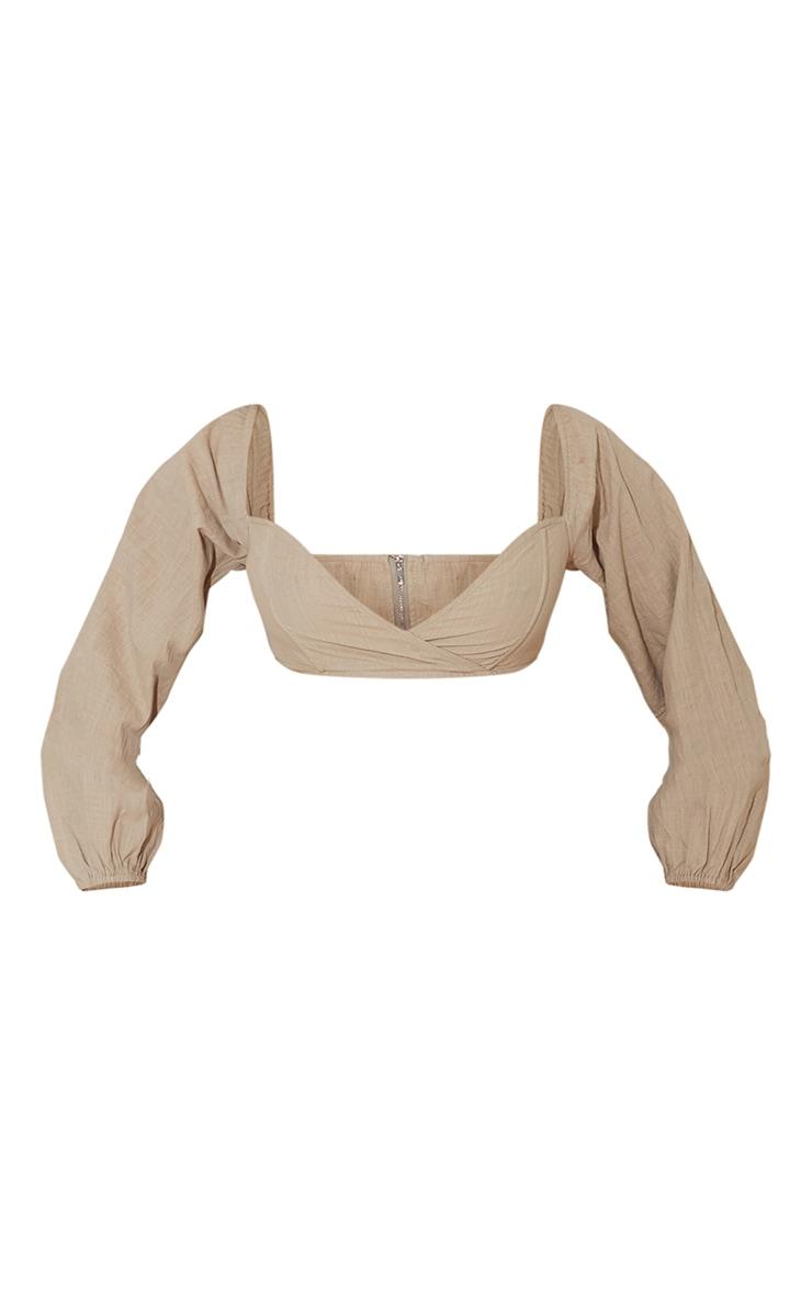 Taupe Linen Look Boned Oversized Sleeve Crop Top 5