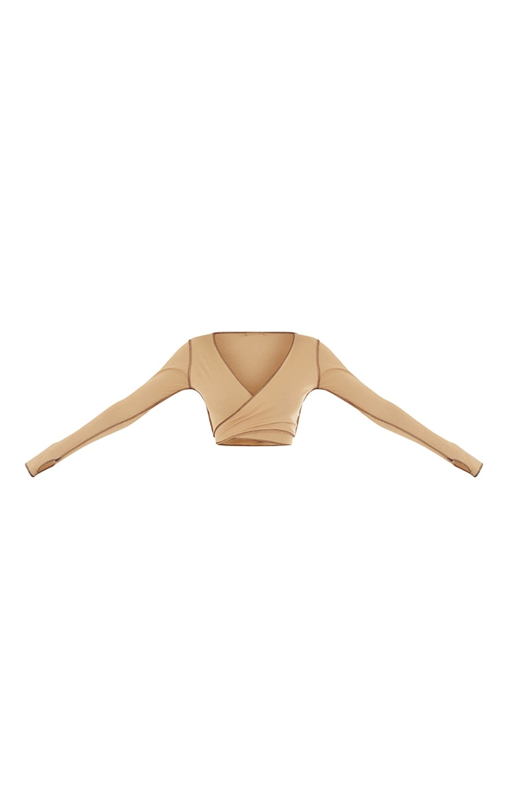 Tall Stone Tie Back Contrast Seam Crop Top 5