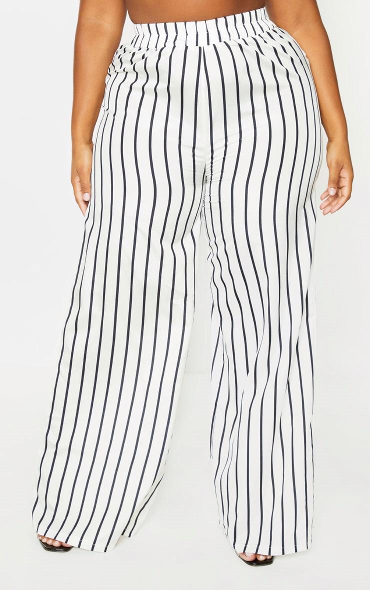 Plus Cream Striped Print Wide Leg Pants 2