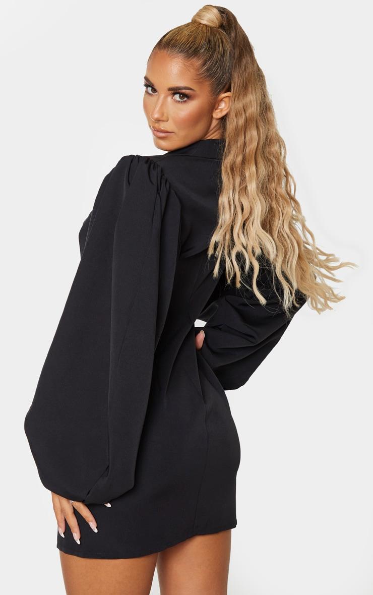 Black Balloon Sleeve Button Down Blazer Dress 2
