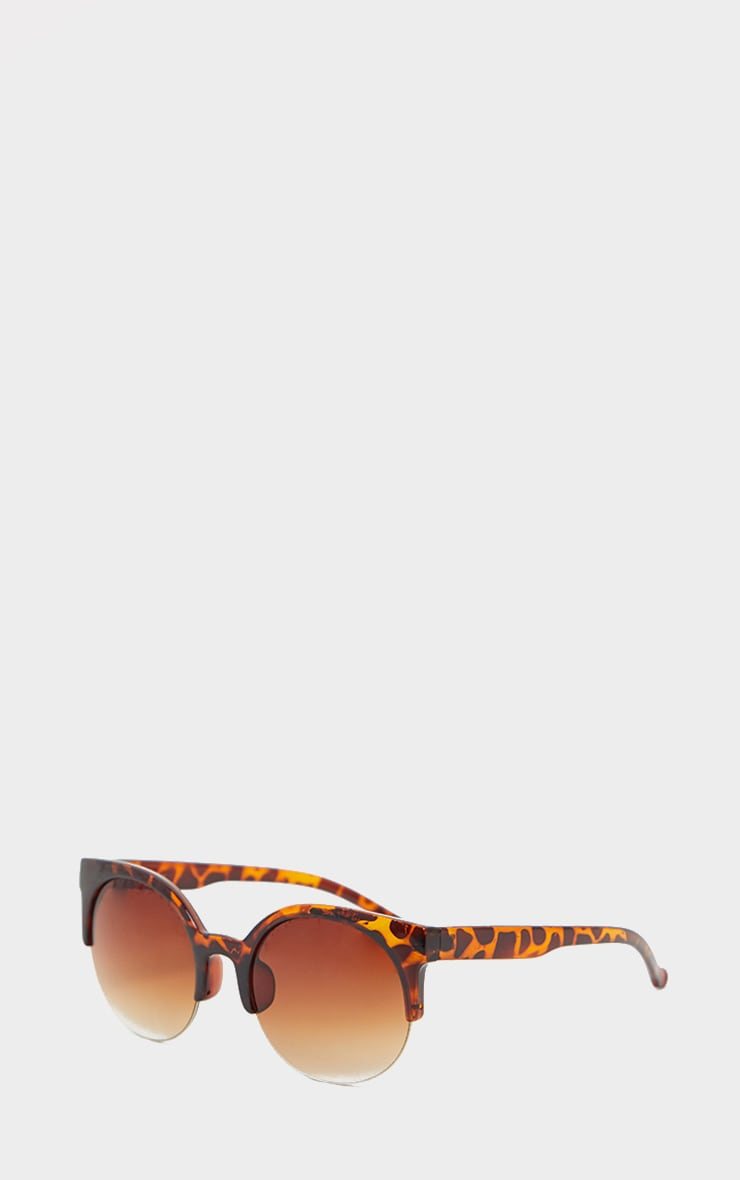 Brown Semi Frameless Animal Print Sunglasses 3