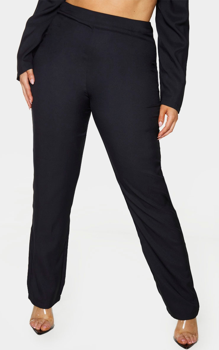 Plus Black Tapered Straight Leg Pants 2