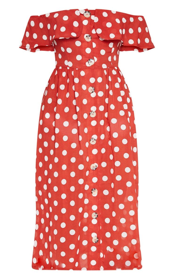 Burnt Orange Polka Dot Bardot Button Up Midi Dress 3
